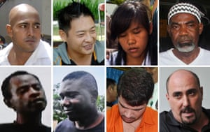 Top row from left: Myuran Sukumaran, Andrew Chan, Mary Jane Veloso, Martin Anderson. Bottom row from left: Raheem Agbaje Salami, Silvester Obiekwe Nwolise, Rodrigo Gularte, and Serge Atlaoui, whose execution has been delayed.