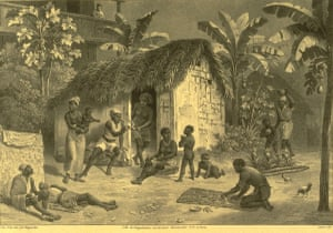 Housing as depicted by Rugendas, a German painter who traveled throughout Brazil during 1822-1825 and painted peoples and customs.