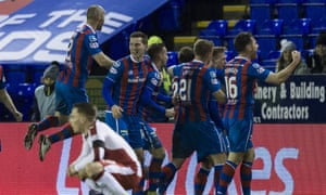Inverness celebrate their late winner at home against Rangers.
