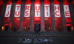 A banner hung from Liverpool's Saint George's Hall after the Hillsborough inquest verdict was delivered on April 26, 2016 – 27 years after the disaster.