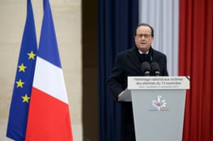 French President Francois Hollande delivers a speech during a ceremony to pay a national homage to the victims of the Paris attacks at Les Invalides