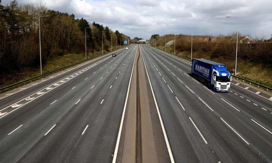 The M1 motorway near to Nottingham on 29 March