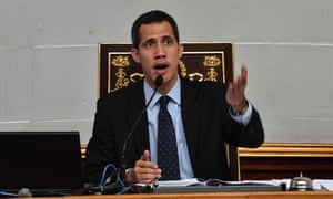 Juan Guaidó speaks during a session at the national assembly in Caracas, Venezuela on 29 January.