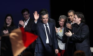 François Fillon arrives to deliver his speech in Aubervilliers.