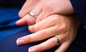 Hands of bride and groom with their wedding rings on.