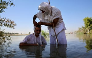 Baghdad, Iraq. Members of the ethno-religious group of Mandaeans take part in the great feast, a religious new-year ritual