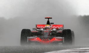 A young Lewis Hamilton shows his wet-weather skills in winning at Silverstone in 2008.