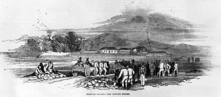 Transported convicts at work on Norfolk Island in 1847.