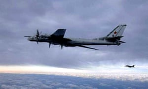 File photograph of a Russian 'Bear' bomber escorted by a US fighter jet in a 2008 encounter south of Japan.