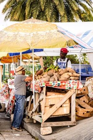 Shack attack … a trader's stall, Market Street, St John's, Antigua.