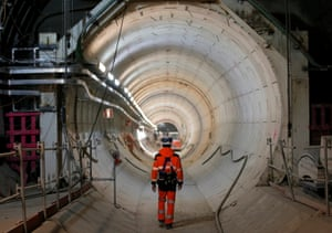 Worker entering a tunnel in the national radioactive waste management agency in Bure, France