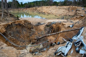 The aftermath of illegal goldmining.