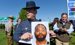 Harford County sheriff Jeffrey Gahler shows a picture of suspect Radee Labeeb Prince, 37, after a news conference near the scene of a workplace shooting Wednesday.