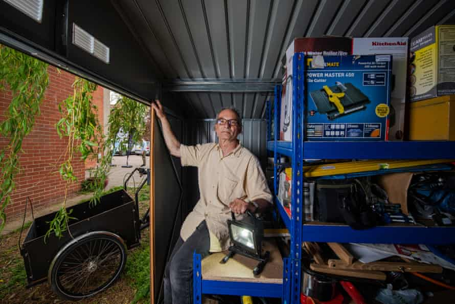 Henson in his storage shed