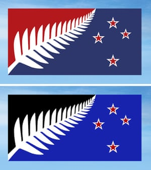 Silver Fern (Red, White and Blue), top, and Silver Fern (Black, White and Blue), bottom, both by Kyle Lockwood, which New Zealanders are considering as a possible new national flag.