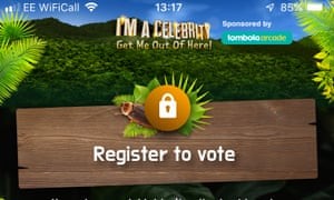 Crop of the I'm a Celebrity app