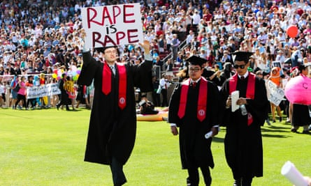 Students showed solidarity with the Stanford sexual assault victim during recent graduation ceremonies in Palo Alto, California.
