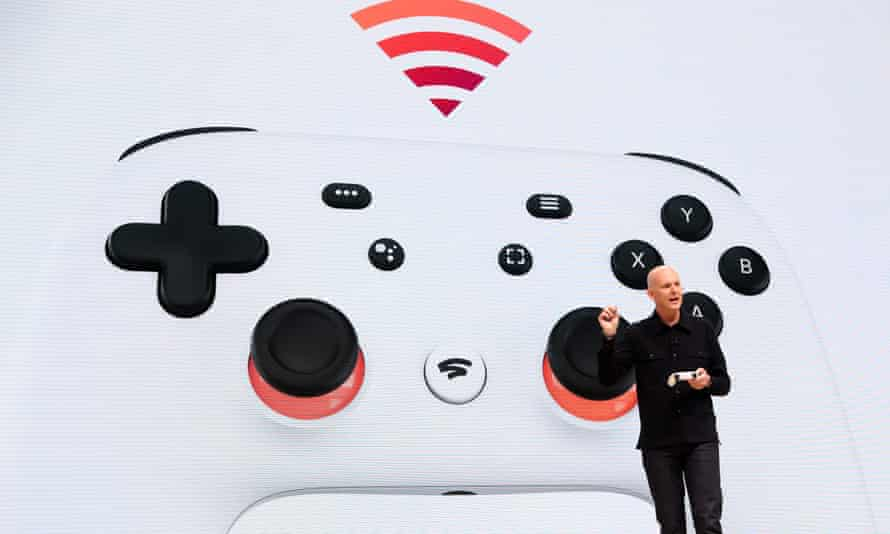Google vice president Phil Harrison presents the Stadia controller in San Francisco.