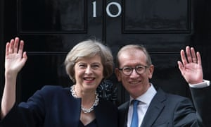 Theresa May and her husband Philip outside 10 Downing Street on Wednesday as she becomes Britain's second female prime minister