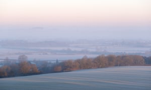 Slightly frosted fields near Lambourn, west Berkshire as the cold mornings continue across the UK