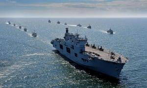HMS Ocean as she leads ships of the Baltops fleet.