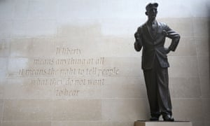 The bronze statue of George Orwell outside Broadcasting House, London.