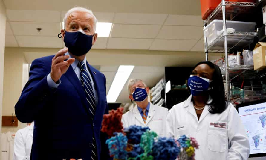 Biden at the National Institutes of Health in Bethesda, Maryland earlier in February. At the heart of Biden's efforts is his plan to immunize a nation of 330 million people.