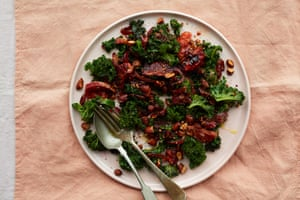 Anna Jones's sticky blood orange and kale warm salad.