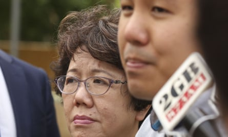 Curtis Cheng's widow, Selina, and her son, Alpha, speak to the media in Parramatta after the verdict.