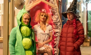 Characters in peas, nurse and witch fancy dress costumes