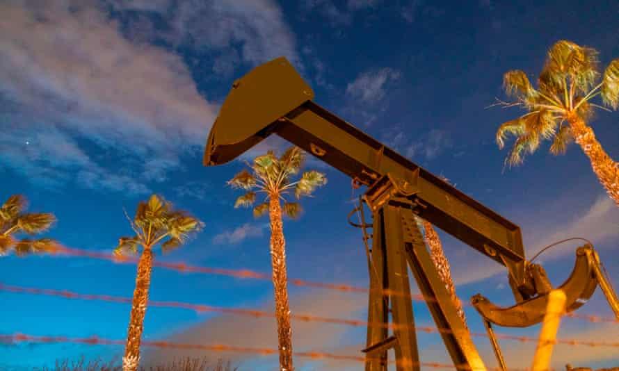 Pump jacks draw crude oil from the Long Beach oilfield in California