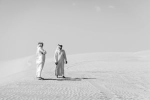 two men in the Qatar desert