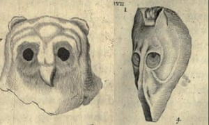 Left: Lapis Bubonius owl's head stone . Right: Hippocephaloides or horse head stone. From The Natural History of Oxfordshire.