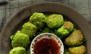 Green scene: edamame fritters and dipping sauce.
