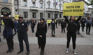 Amnesty International activists protest about the death of Italian student Guido Regeni, at Milan's city hall in April.