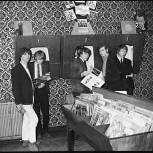 The Yardbirds visit a record shop, 1965