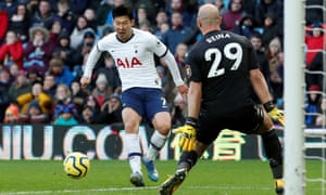 Son Heung-min slides the ball past the Aston Villa goalkeeper Pepe Reina