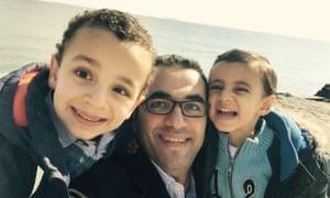 Osama Gaweesh in Egypt with his children.