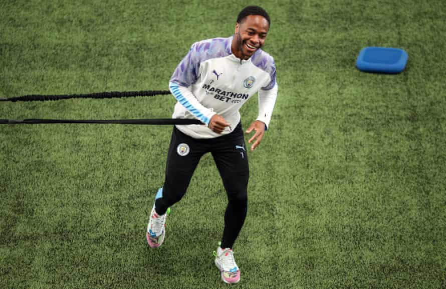 Raheem Sterling during a training session for Manchester City