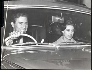 Antony Armstrong-Jones drives his fiancee Princess Margaret from Buckingham Palace to Windsor in March 1960