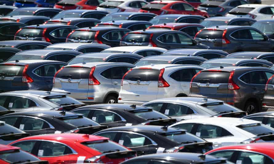 Hundreds of Honda cars and SUVs awaiting export sat in holding areas in Southampton docks UK