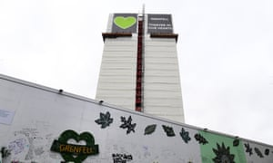 Tributes below Grenfell Tower in west London, where a fire killed 72 people in June 2017.