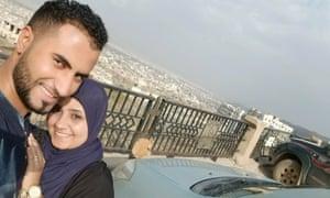 Sondos Alsilwi with her husband.