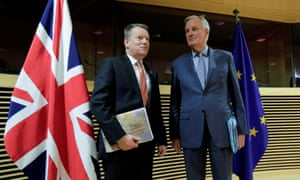 The UK's chief Brexit negotiator, David Frost (left), with his EU counterpart, Michel Barnier, in Brussels