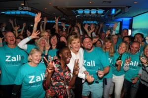 Zali Steggall and her supporters celebrate her win in the seat of Warringah on election night.
