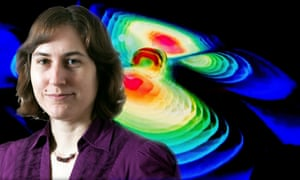Composite image of Australian astrophysicist Katie Mack's headshot and a visualisation of gravitational waves pictured during a press conference by the Max Planck Institute for Gravitational Physics (Albert Einstein Institute) at the Leibniz University in Hanover, Germany, 11 February 2016