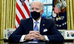 Joe Biden in the Oval Office of the White House in Washington on 20 January 2021.