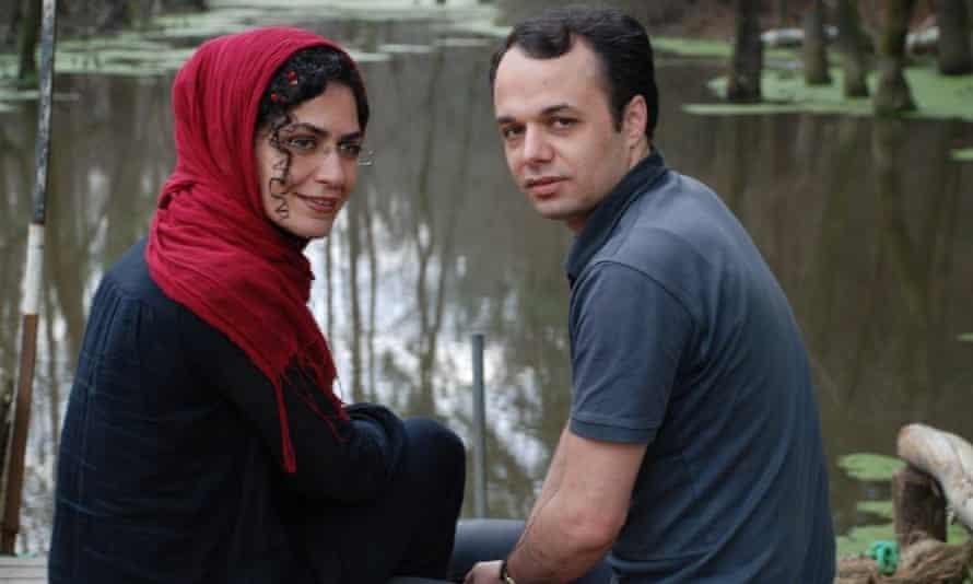 Bahareh Hedayat with her husband, Amin Ahmadian.