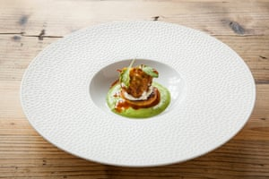 A dish known simply as 'courgette, chilli, coriander', at The Small Holding, Kent.