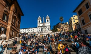 Visitors sit on the Spanish Steps, Rome